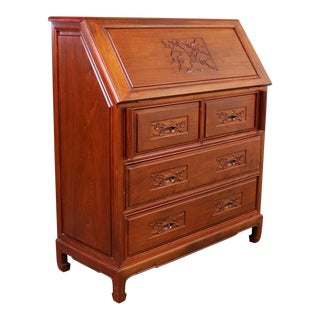 Asian Teak Hand Carved Drop Front Compartmentalized Desk Style of George Zee For Sale