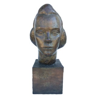 1940s Vintage Art Deco Head of a Woman Bronze Clad Sculpture For Sale