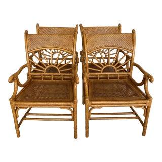 Coastal Lexington Furniture Rattan Arm Dining Chairs-Four For Sale
