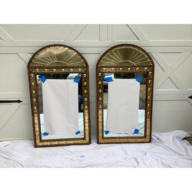 Pair of Sarreid Brass & Pine Mirrors, Italy For Sale - Image 10 of 11