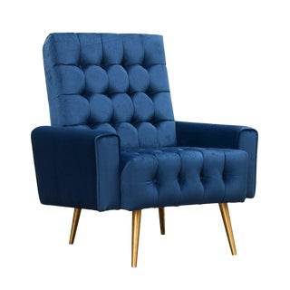 Blue & Brass Occasional Chair For Sale