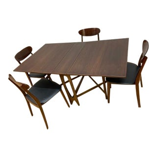 Vintage Danish Modern Walnut Folding Table and Dining Chairs - Set of 5 For Sale
