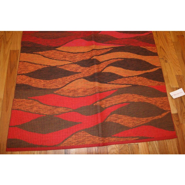 Mid 20th Century Vintage Double-Sided Swedish Kilim Carpet For Sale - Image 5 of 10