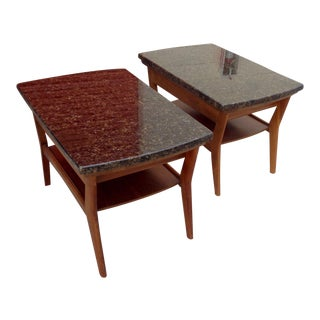 Merman Mid-Century Walnut & Stone Side Tables - a Pair/Coffee Tables