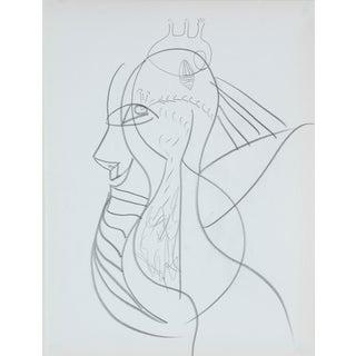 Michael DI Cosola Psychedelic Portrait in Graphite, Late 20th Century Late 20th Century For Sale