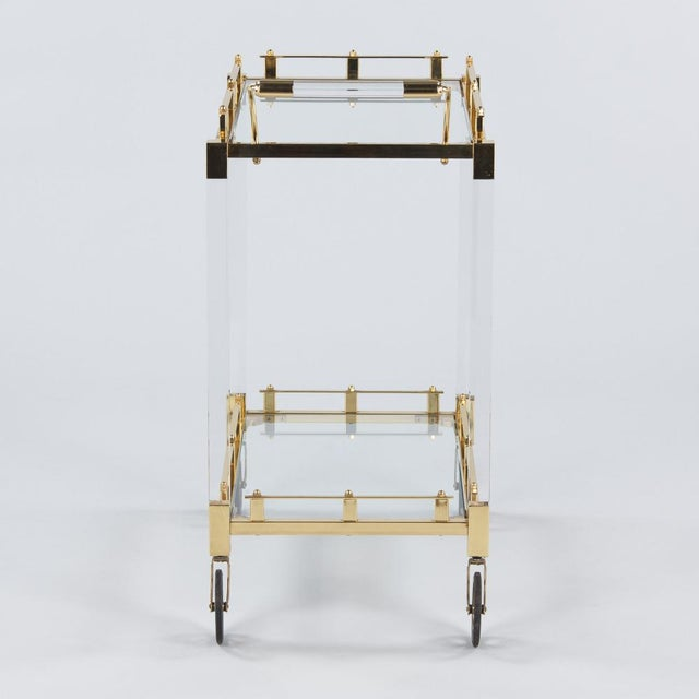 Gold 1970s Spanish Lucite and Brass Bar Cart For Sale - Image 8 of 11