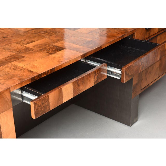 Metal American Modern Burled Walnut and Pewter Cityscape Desk, Paul Evans For Sale - Image 7 of 9