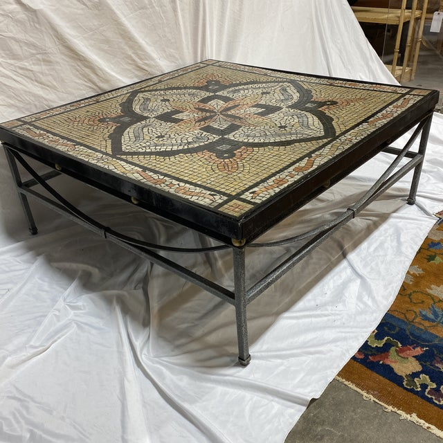 Very cool faux mosaic tile table in beautiful color combination. Black terracotta and cream. Black iron frame and Mosaic...