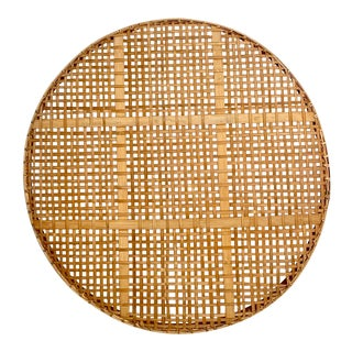 Mid Century Modern Vintage Woven Rattan Tobacco Basket For Sale