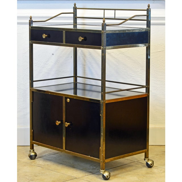 Mid-Century Modern Midcentury Two-Tier Brass and Black Laminate Bar Cart by Maxwell Phillips, Ny For Sale - Image 3 of 13