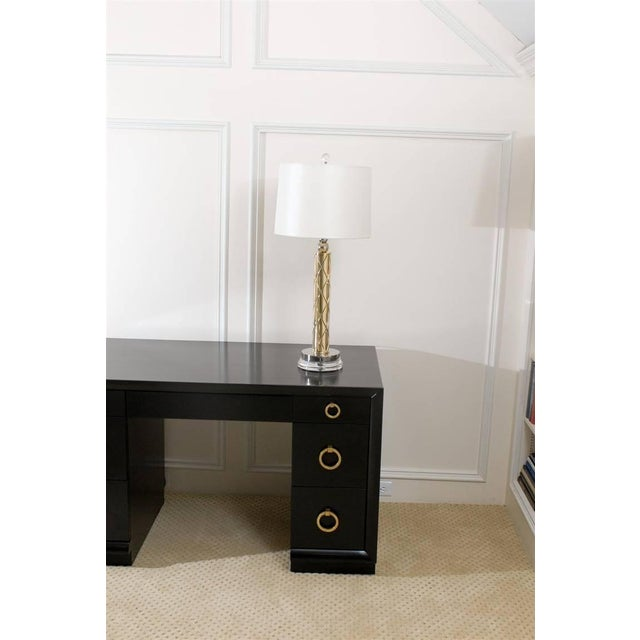 Restored Pair of Modern Etched Lamps in Brass and Nickel For Sale - Image 10 of 10