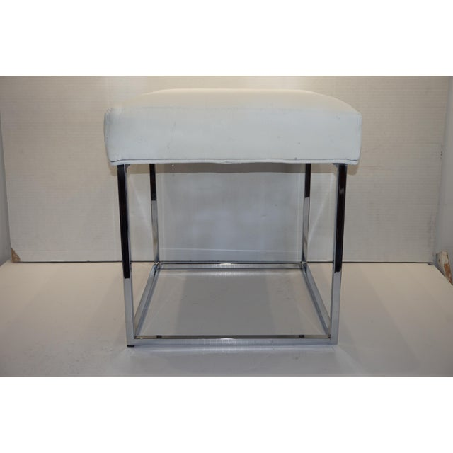 White 1970s Mid Century Modern Milo Baughman for Design Institute of America Cube Chrome Ottoman For Sale - Image 8 of 8
