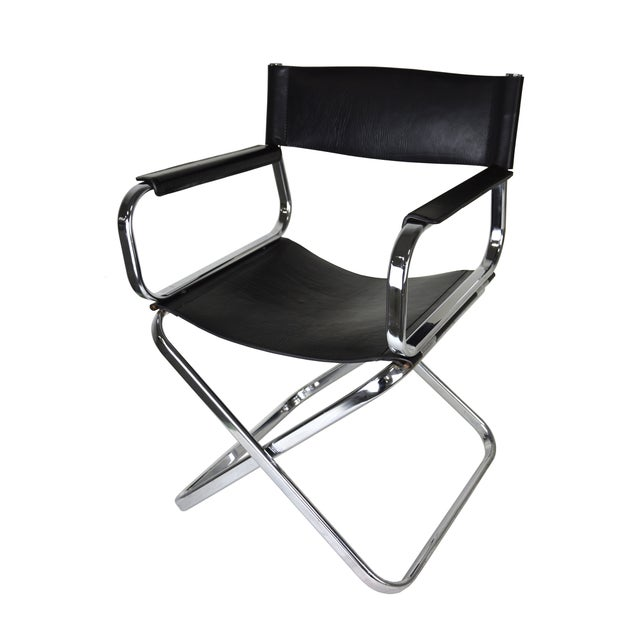 Italian Leather And Chrome Director's Chair For Sale