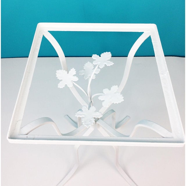 Vintage Wrought Iron Ivy Leaves Patio Plant Stand Table - Image 7 of 8