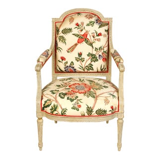 French Armchair in European Chintz Fabric For Sale