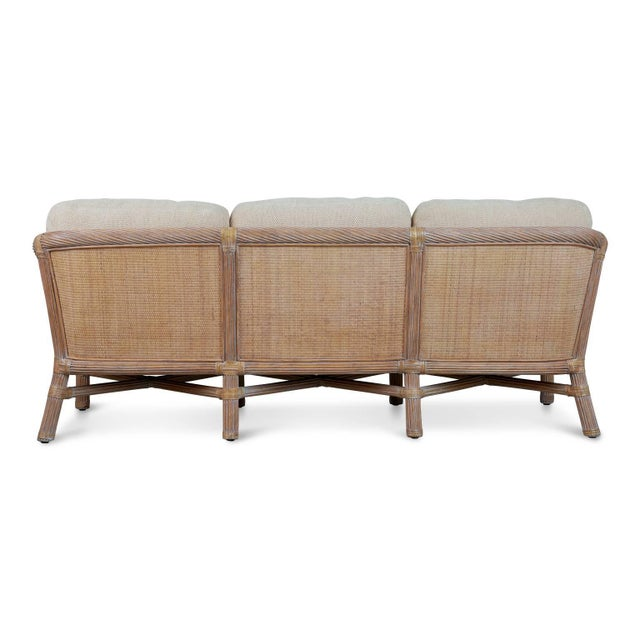 Boho Chic McGuire Rattan Outdoor Patio Set With Sofa, Coffee Table and Side Table - 3 Pc. Set For Sale - Image 3 of 11