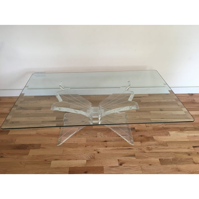 Glass Lucite Butterfly Base Coffee Table - Image 2 of 5