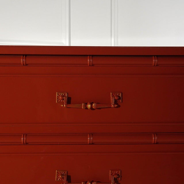 Asian Henry Link Bali Hai Dresser Lacquered Fiery Orange For Sale - Image 3 of 6