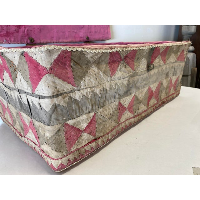 Boho Chic Antique Katha Quilt Box For Sale - Image 3 of 12