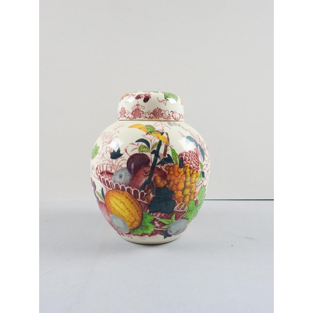 "Mason's transferware ginger jar with fruit basket design. Opening size 2.25""dia."