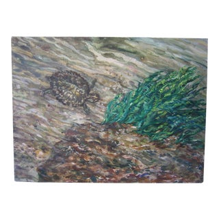 """""""Turtle Under Water"""" Abstract Oil Painting"""