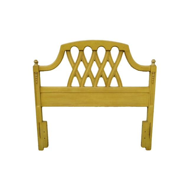 20th Century French Provincial Stanley Furniture Cream/Yellow Painted Twin Size Headboard For Sale - Image 9 of 9