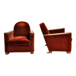"Art Deco ""Streamline"" Chairs With Hardwood Arms and Legs - a Pair For Sale"