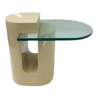 Sculptural Lacquered and Glass Occasional Table For Sale