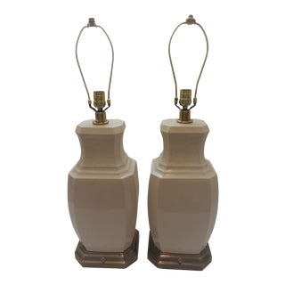 20th Century Traditional White Ceramic Crackle Lamps - a Pair