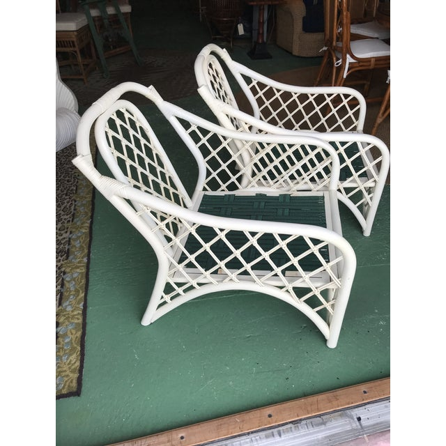 Vintage Coastal Criss Cross Rattan Lounge Chairs-A Pair For Sale - Image 9 of 11