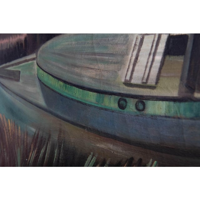 1950s Vintage Boat at Sunset Oil Painting For Sale In Atlanta - Image 6 of 8