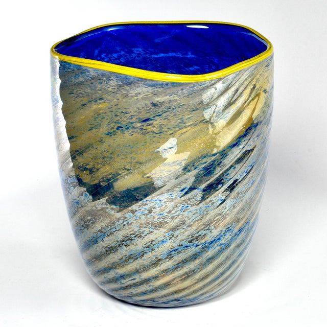 Large Cobalt Blue and Yellow Art Glass Vase For Sale - Image 9 of 9