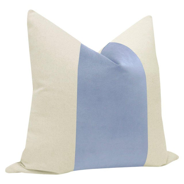 "Contemporary 22"" Powder Blue Velvet Panel & Linen Pillows - a Pair For Sale - Image 3 of 6"
