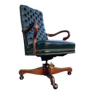 Traditional Swivel-Tilt Gooseneck Mahogany Arm Tufted Leather High-Back Executive Chair by Leathercraft For Sale