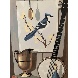 Mid-Century Modern Blue Jay Still Life Paint by Number Preview