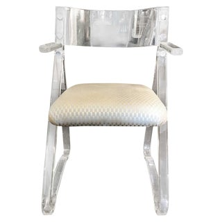Acrylic Armchair With Contoured Back For Sale