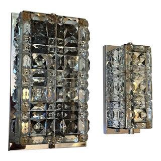 1960s Austrian Kinkeldey Crystal Wall Lights - a Pair For Sale