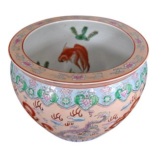 Qing Dynasty Flag Fishbowl Planter Large Bowl For Sale