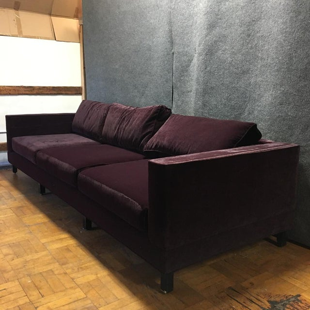 Dialogica Purple Velvet 10-Foot Custom-Made Sofa - Image 3 of 11