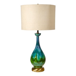 1960s Green Drip Glaze Table Lamp For Sale