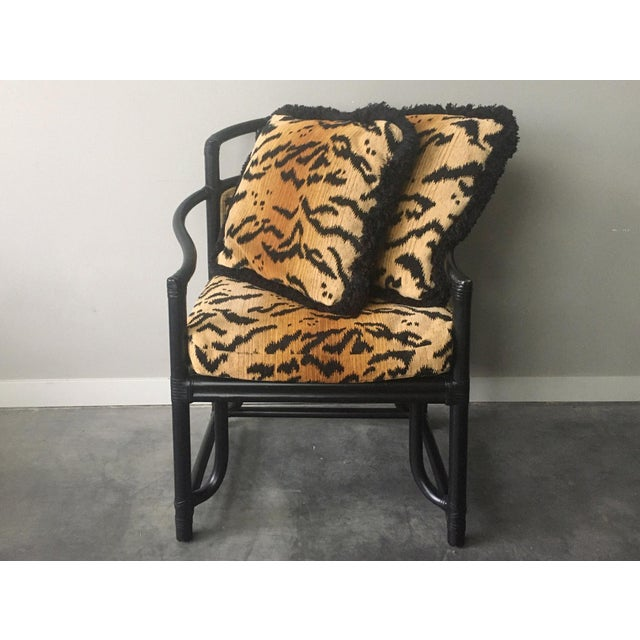 Baker Furniture Company Organic Modern Black Bamboo + Animal Print Chair by Milling Road for Baker Furniture For Sale - Image 4 of 13