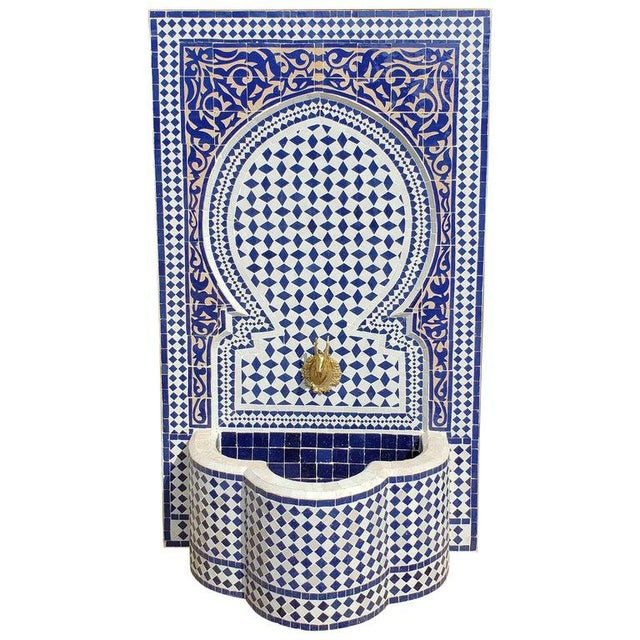 White Moroccan Mosaic Blue Fountain For Sale - Image 8 of 8