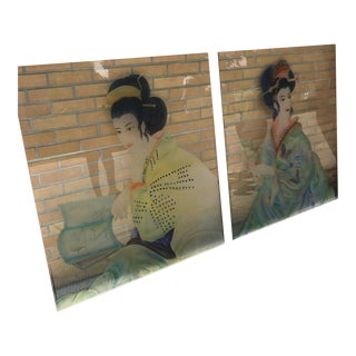 Etched Glass Japanese Panels For Sale