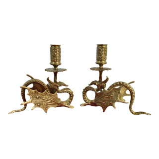 Vintage Brass Oriental Dragon / Griffin Candle Holders Vintage Collectible - a Pair For Sale