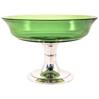 Sterling Compote With Green Glass For Sale