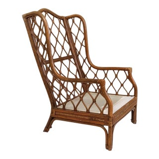 1990s Vintage Boho Chic Rattan Frame Wing Chair For Sale