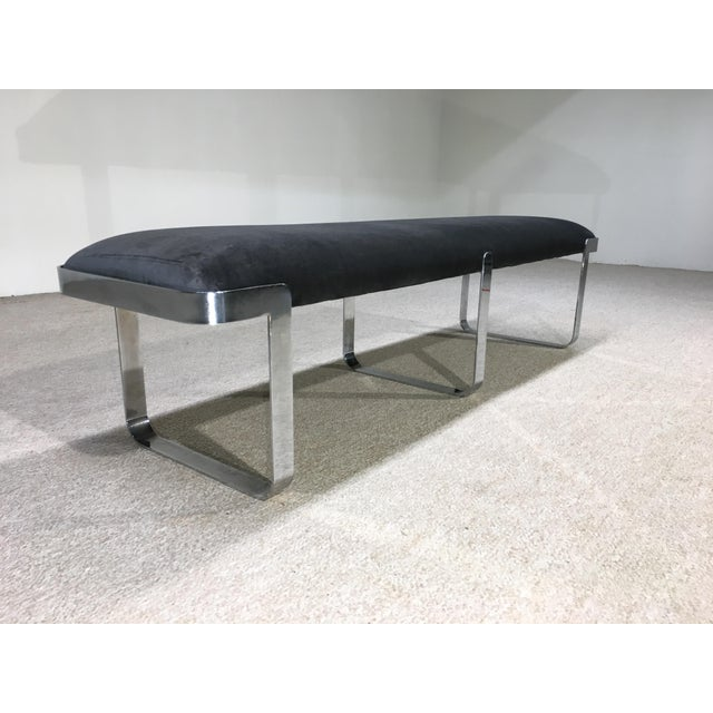 Mid-Century Modern TriMark Designs Milo Baughman Style Chrome Long Bench For Sale - Image 3 of 4