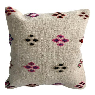 Antique Turkish White x Designer Handwoven Pillow For Sale
