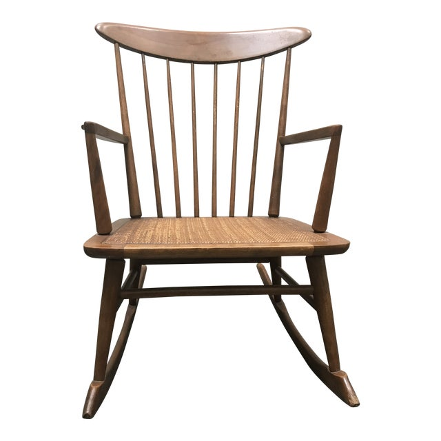 Mid Century Danish Modern Vintage Walnut Rocking Chair For Sale