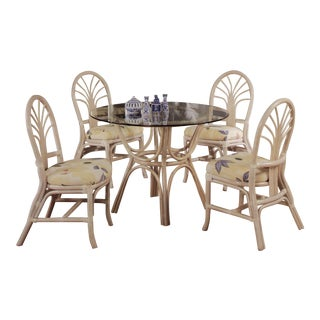 """Set of Four Rattan Palm Back """"Sunrise"""" Chair and Glass Top Table in White, Dining Set For Sale"""